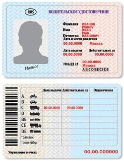Водительское удостоверение нового образца 2011 г.в.